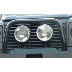 ABAR - Defender 'A' Bar With Two Spot Light Brackets in Black (For Off-Road Use Only) - Doesn't Fit Vehicles with Air Con
