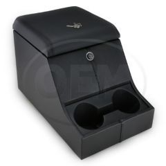 OEM Land Rover Defender High Top Cubby Box - Comes in with Windsor Black Leather Lid Complete with Lock and Two Drinks Holders
