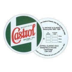 """DA6275 - Castrol Classic Oil Service Reminder Windscreen Stikers - 3"""" Diameter"""