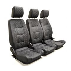 EXT010-3FS - Premium High Back Second Row Seating for Defender - By Exmoor Trim - Full Three Seat Set - Available In Multiple Trim Options