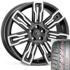 HERMES-GMF-TYRE - Wheel and Tyre - Hakwe Hermes Alloy Wheel in Gunmetal with Polished Face