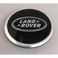 LR044717 - Bright Black Wheel Centre Cap - With Black and Silver Logo - Land Rover / Range Rover