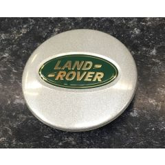 LR089424 - Land Rover Wheel Centre Cap In Silver Sparkle Finish with Green and Gold Badge - New 2016 Style Wheel Cap