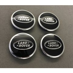 LR044717 - Set of Four Bright Black Wheel Centre Cap - With Black and Silver Logo - Land Rover / Range Rover