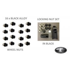 LRC1097 - Set of 16 Black Alloy Wheel Nut with Locking Nuts for Land Rover Defender - Full Vehicle Set