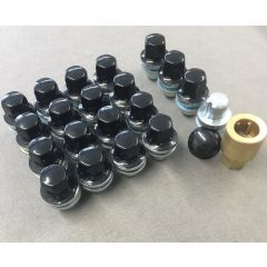 LRC1110 - Black Wheel Nut Set for Range Rover L322 2006 >, Range Rover Sport and Discovery 3 and 4 - With 16 Nuts and 4 Locking Nuts