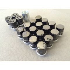LRC5800 - Freelander 2, Evoque and Discovery Sport Black Wheel Nut Kit - Alloy Locking Wheel Nut and 16 Black Wheel Nut Kit