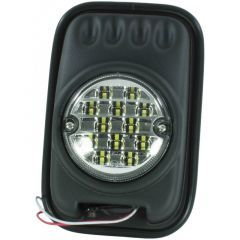 LRC9860 - Single Black Mirror Head for Land Rover Defender with LED Lamp - With Glass and Rubber Surround
