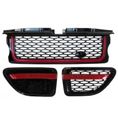 RRG191 - Range Rover Sport 2012 Autobiography Style Grille and Side Vents in Gloss Black Red Edition - Black / Red / Black