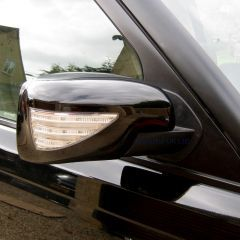 RRM743BLK - Full Mirror Covers In Gloss Black with LED Indicator and Welcome Lights - For Range Rover Sport, Freelander 2 and Discovery 3