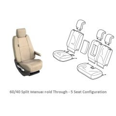 VPLWS0230SVA - Rear Seat Cover for Range Rover Sport L494  - In Almond - 2014 Onwards - Genuine Land Rover - 60/40 5-Seat Manual Fold Through