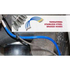 TF602XTL - Terrafirma Defender XTL Brake Hose Kit - Stainless, Braided and PVC Covered - Plus 40mm Height Defender 110  > 98