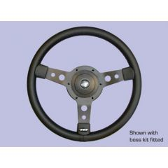 "DA4654 - Defender Steering Wheel by Mountney - 14"" Black Vinyl with Black Spokes"